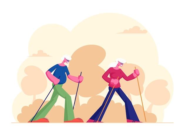 Anziani nordic walking allenamento all'aperto con bastoncini. cartoon illustrazione piatta