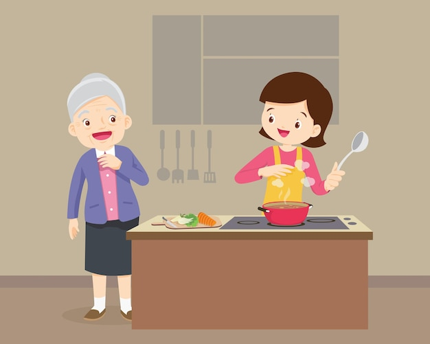 Donna anziana che guarda alla donna che cucina nella cucina Vettore Premium