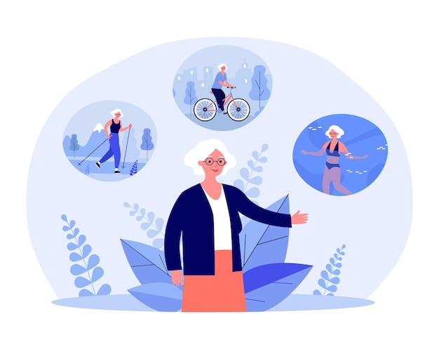 Donna anziana nordic walking, andare in bicicletta e nuotare. vecchia signora con illustrazione vettoriale piatta vita attiva e felice. stile di vita sano, concetto sportivo per banner, design di siti web o landing page