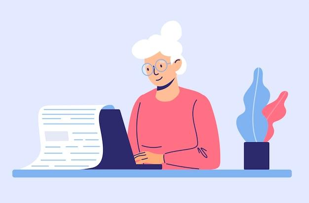 Una donna anziana lavora da remoto come scrittrice scrivendo testi per pensionati in stile cartone animato