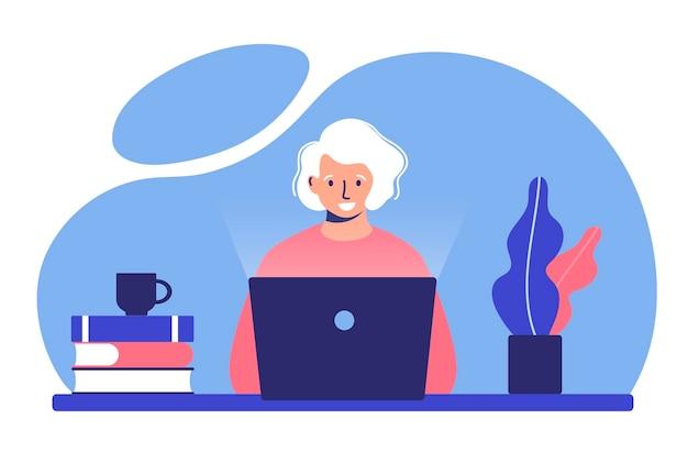 La donna anziana lavora da remoto illustrazione del concetto di creazione di un blog