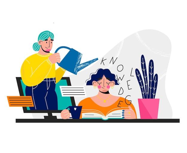 Banner di elearning educazione online giovane donna che studia online scuola di internet teac . professionale