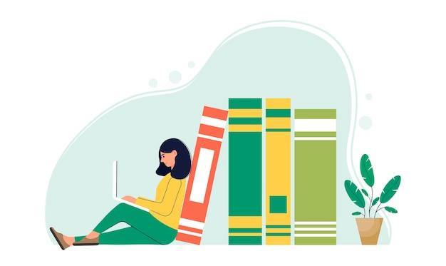 Illustrazione del concetto di elearning personaggio femminile con un laptop accanto a libri di grandi dimensioni