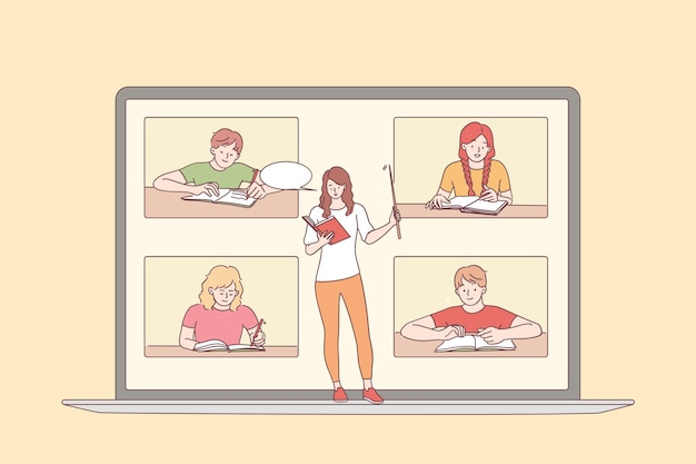 Concetto di formazione online e elearning. schermo del computer portatile con l'insegnante della giovane donna e la seduta e gli alunni della lezione di apprendimento che ascoltano il corso di lezione online Vettore Premium