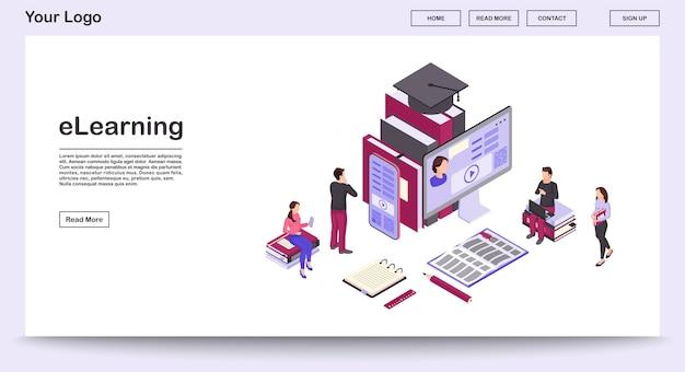 Modello di vettore di pagina web e-learning con illustrazione isometrica, landing page