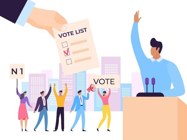 Elezione candidato leader politico altoparlante discorso illustrazione