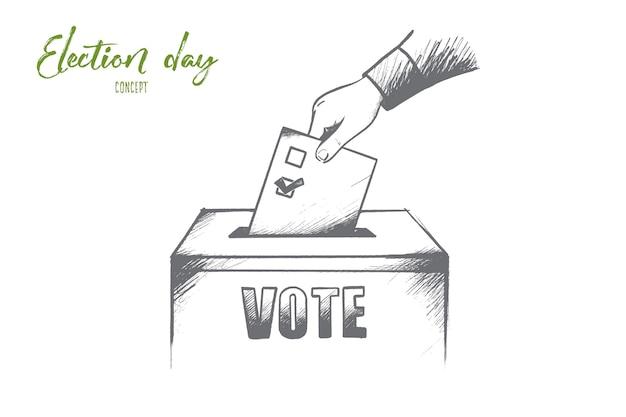 Concetto di giorno delle elezioni. la mano disegnata della persona consegna il loro voto. scrutinio presso il seggio elettorale illustrazione isolato. Vettore Premium