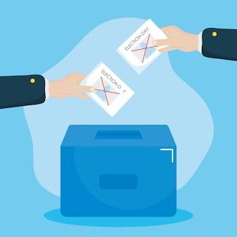 Disegno di giorno delle elezioni mani in possesso di un voti e urne su sfondo blu