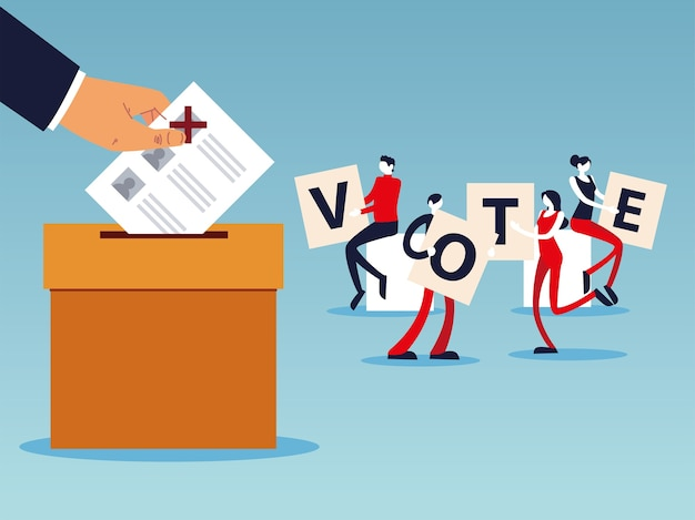 Giorno delle elezioni, persone con lettere di voto, mano con scheda elettorale nella casella