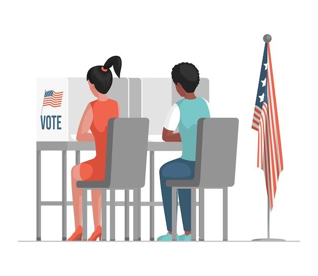 Giorno delle elezioni nell'illustrazione degli stati uniti d'america.