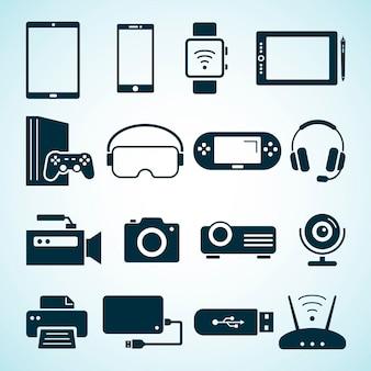 Dispositivi elettorali. icone piatte di dispositivi digitali e computer