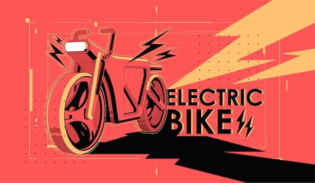 Bicicletta elettrica con motore. banner di trasporto città alternativa eco