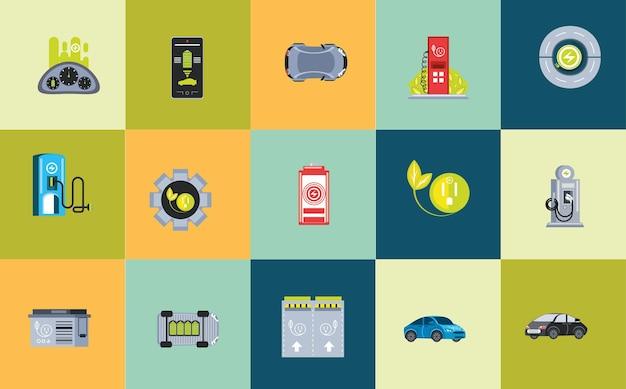 Spina del cavo di ricarica per auto elettriche, stazione per auto ecologica, illustrazione delle icone dei livelli della batteria