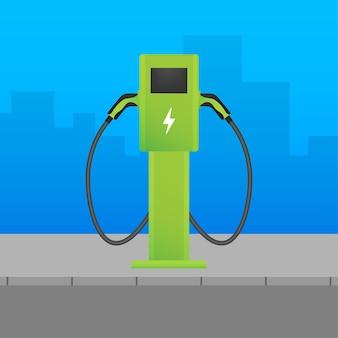 Ricarica auto elettrica. stazione di veicoli elettrici. veicolo in piedi.