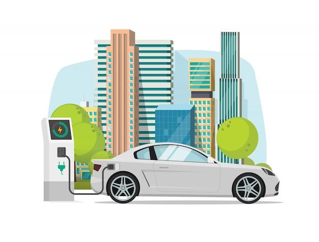 Automobile elettrica che si carica dalla stazione del caricatore vicino all'illustrazione della città nello stile piano del fumetto