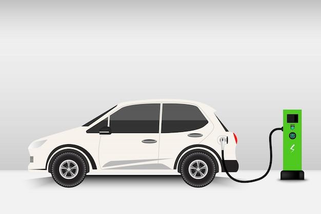 Auto elettrica e punto di ricarica, tecnologia ev, concetto di automobile