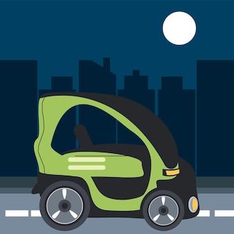 Illustrazione della città di strada alternativa compatta per auto elettrica