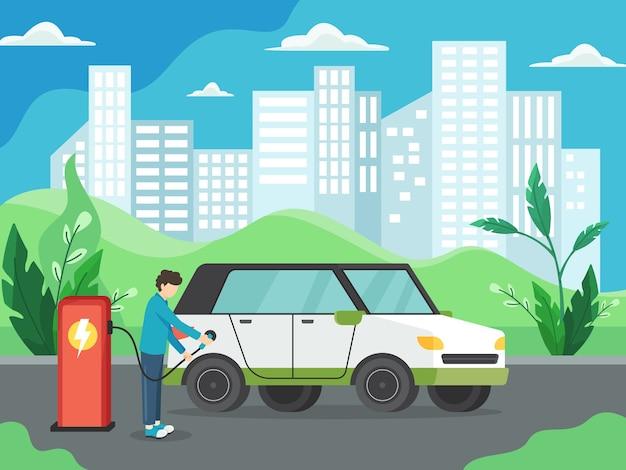 Concetto di auto elettrica. uomo che carica auto elettrica presso la stazione di ricarica davanti alla turbina eolica e al pannello solare. veicolo verde, trasporto ecologicamente pulito. in stile piatto