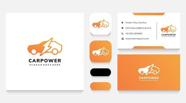 Modello di logo e biglietto da visita per l'energia elettrica e per auto