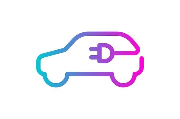 Icona dell'auto elettrica, spina del cavo elettrico, simbolo del gradiente di ricarica, veicolo elettrico ecologico ecologico