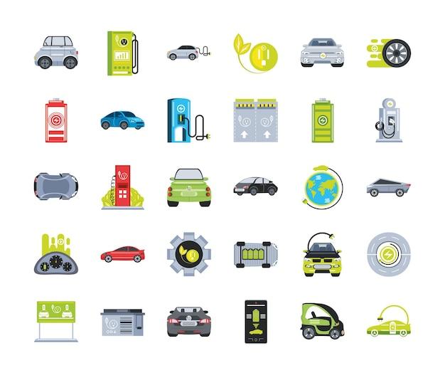 Set di icone di auto elettriche con stazione di ricarica, alimentazione a batteria e illustrazione della spina