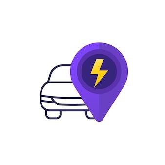 Icona dell'auto elettrica con il simbolo dell'elettricità