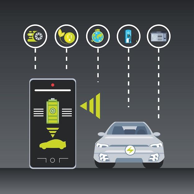Illustrazione di servizio app di controllo di auto elettriche e smartphone