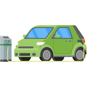 Illustrazione dell'icona di vettore del caricatore della stazione dell'auto elettrica