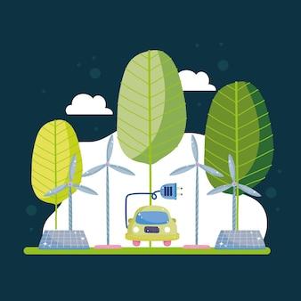 Auto elettrica e sostenibile Vettore Premium