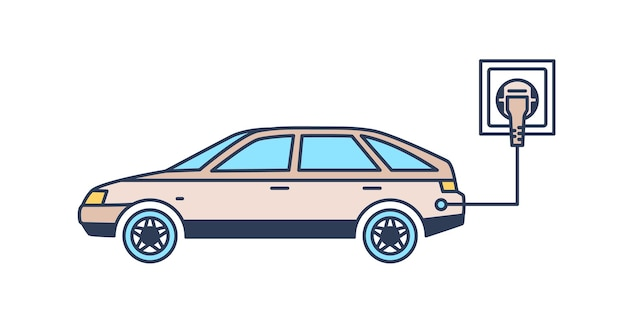 Auto elettrica con ricarica a spina alla stazione di ricarica. veicolo verde o ecologico, tecnologia innovativa sostenibile, innovazione hi tech. illustrazione vettoriale moderna in stile lineare.