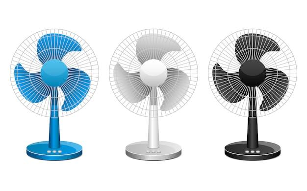 Illustrazione di progettazione del ventilatore elettrico isolata su fondo bianco