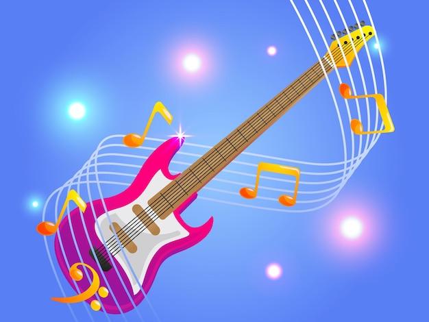 Chitarra elettrica con eleganti note musicali musica