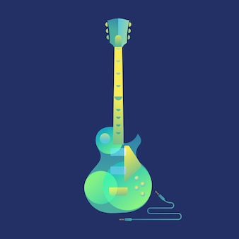Chitarra elettrica con modern art deco e stile minimalista