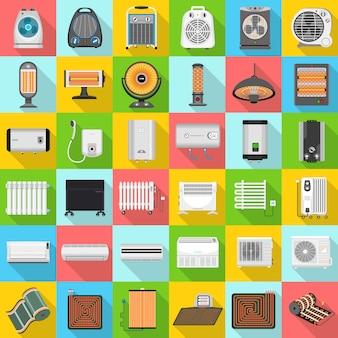 Set di icone di riscaldatore elettrico