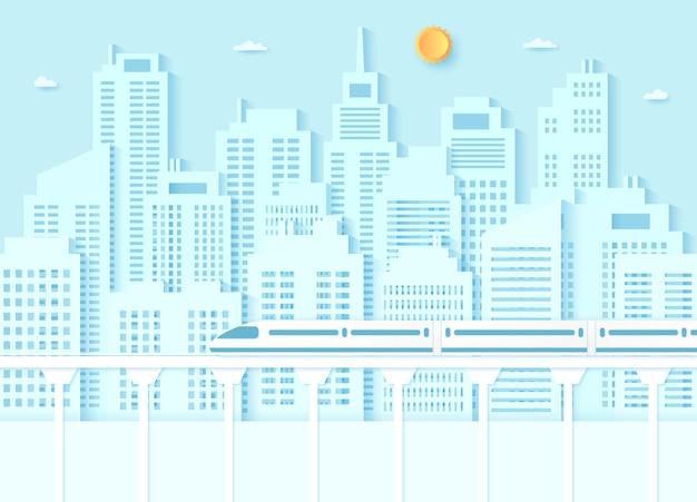 Trasporto con treno elettrico ad alta velocità edificio urbano con cielo blu e stile artistico carta solare