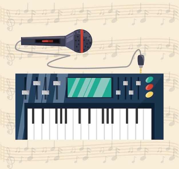 Tastiera elettrica con musica concept microfono