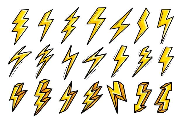 Fulmine elettrico flash icone grassetto giallo impostato