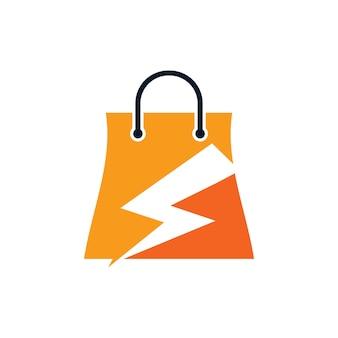 Modello di progettazione del logo dell'icona del negozio elettrico o fulmine