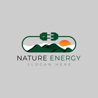 Design del logo della montagna elettrica concetto del logo dell'energia e dell'elettricità