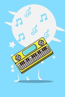 Illustrazione del fumetto del pianoforte elettrico