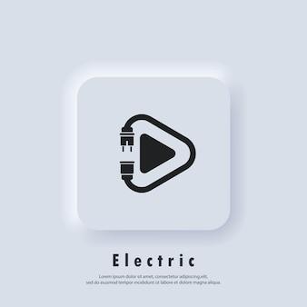 Icona di gioco elettrico. spina. cavo di alimentazione. icone di tecnologia. vettore eps 10. icona dell'interfaccia utente. pulsante web dell'interfaccia utente bianco neumorphic ui ux. neumorfismo