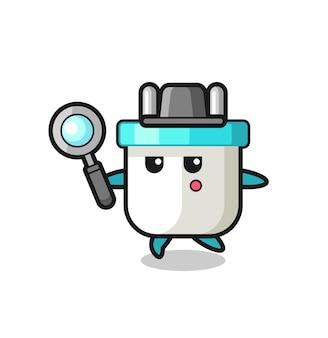 Spina elettrica personaggio dei cartoni animati che cerca con una lente d'ingrandimento