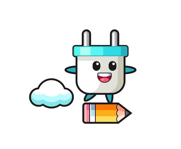 Illustrazione della mascotte della spina elettrica che cavalca una matita gigante