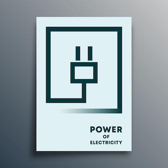 Tipografia con spina elettrica dal design minimale per poster, brochure, copertine di volantini o altri prodotti di stampa. illustrazione vettoriale.