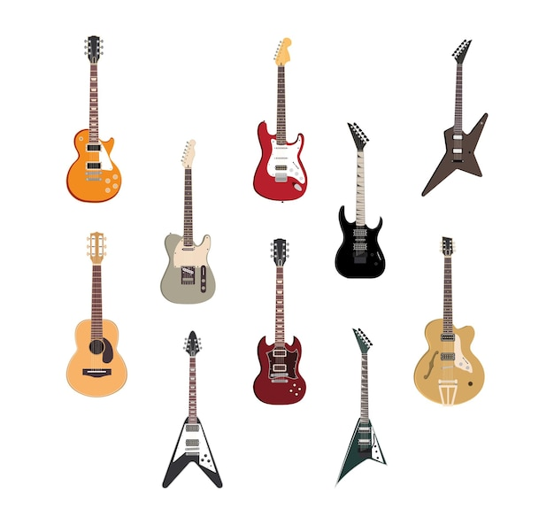 Illustrazione di strumenti musicali di chitarra rock elettrica, jazz acustico e archi di metallo
