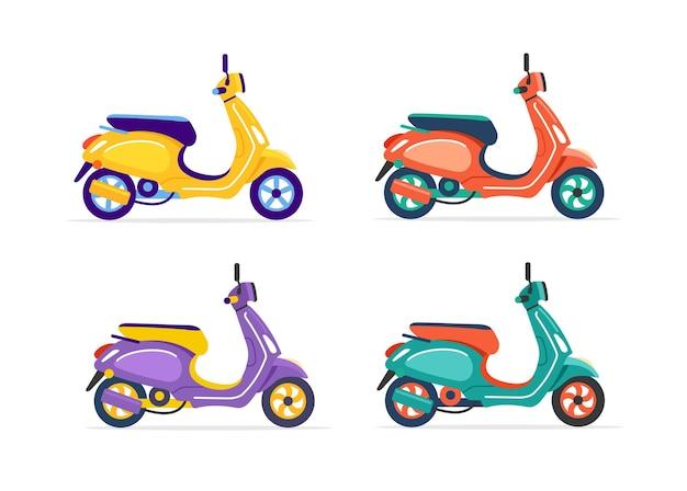 Scooter elettrico di diversi colori isolato su bianco