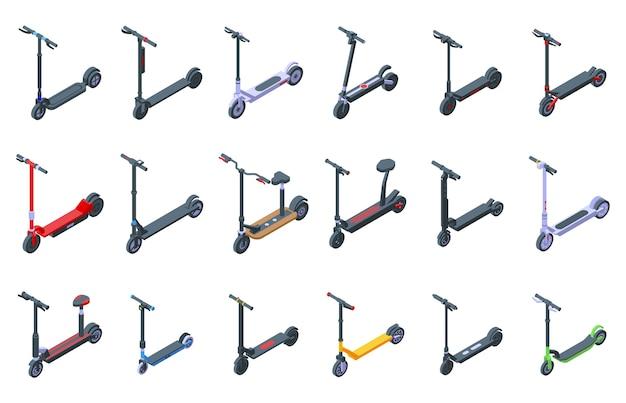 Set di icone di scooter elettrico. insieme isometrico delle icone dello scooter elettrico per il web isolato su priorità bassa bianca