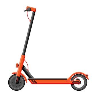 Scooter elettrico isolato su bianco. trasporto urbano ecologico. trasporto urbano ecologico e conveniente. cartoon piatto illustrazione vettoriale cartoon