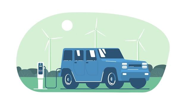 Auto elettrica suv sullo sfondo di un paesaggio astratto e turbine eoliche.
