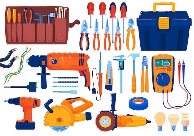 Set di strumenti elettrici, attrezzatura, pinze per spelatura, tronchesi, cacciaviti e multimetro, illustrazione del nastro elettrico.